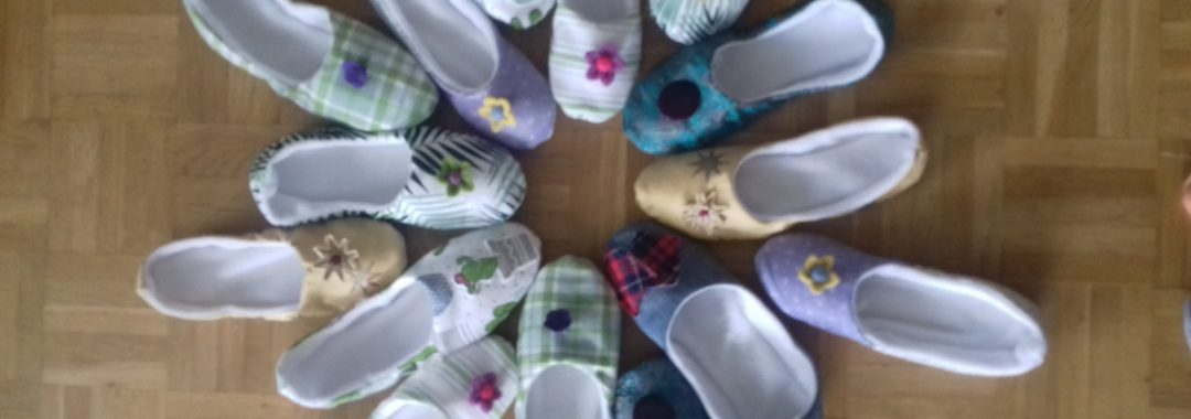 Hand made slippers to comfort your feet after a hard day in the garden